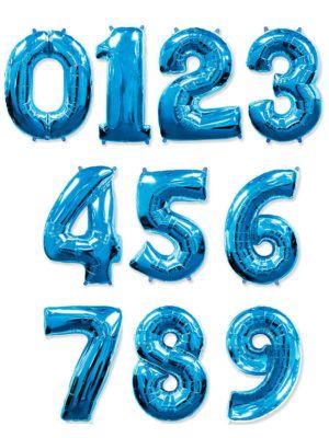 Синяя фольгированная цифра
