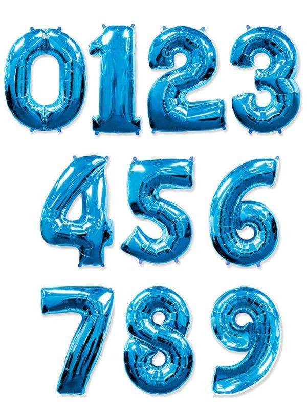 Синя фольгированная цифра