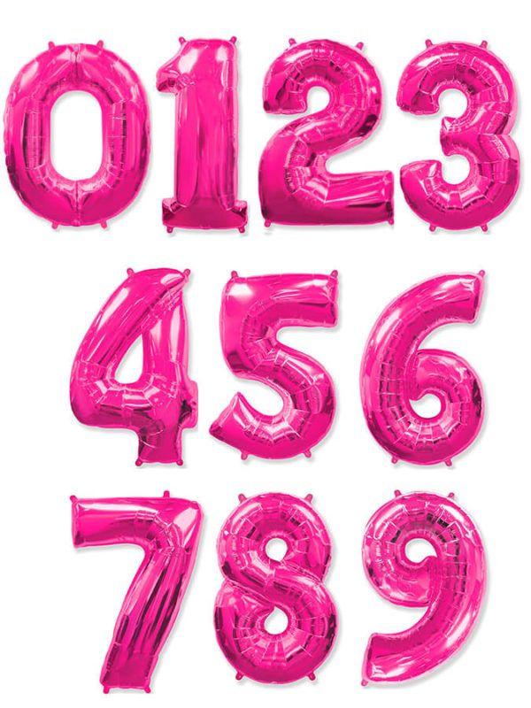 Малиновая фольгированная цифра