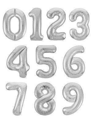 Серебряная фольгированная цифра