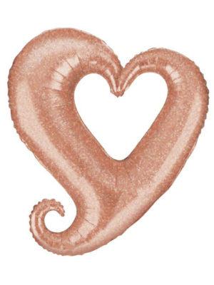 """Сердце розовое золото вензель Размер: (37"""") 94 см"""