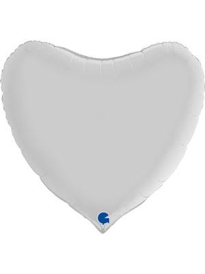 """Большое сердце белое сатин Размер: (36"""") 90 см"""