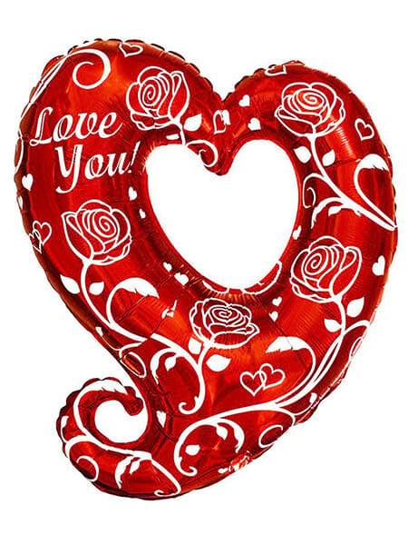 """Велике серце з трояндами LOVE YOU Розмір: (32 """") 80 см"""