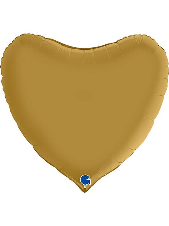 """Большое сердце золотое сатин Размер: (36"""") 90 см"""