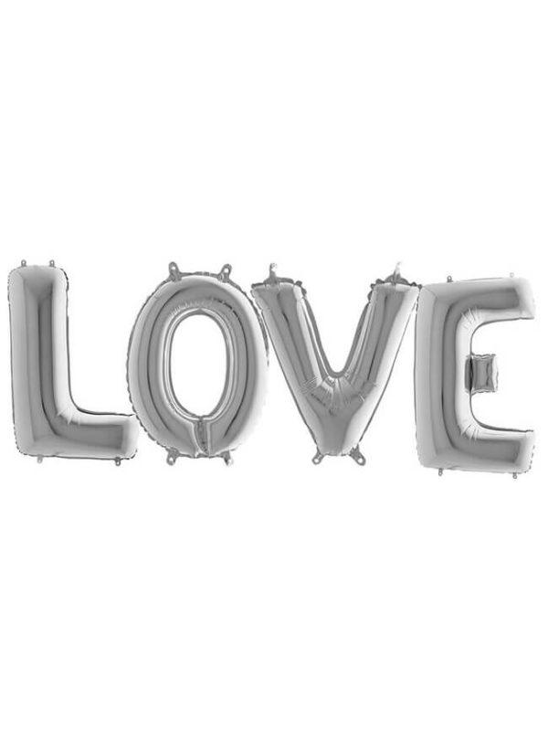 "Шары-буквы ""love"" серебряные"