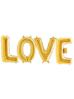 """Шары-буквы """"LOVE"""" золотые Размер: (40"""") 100 см"""