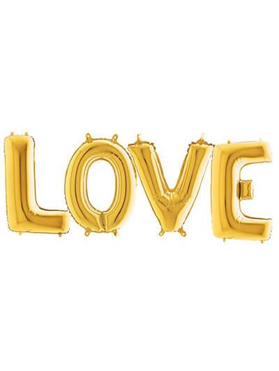 """Кулі-букви """"LOVE"""" золоті Розмір: (40 """") 100 см"""