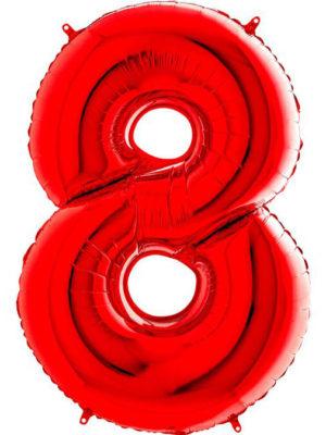Фольгированная цифра 8 Восьмёрка красная