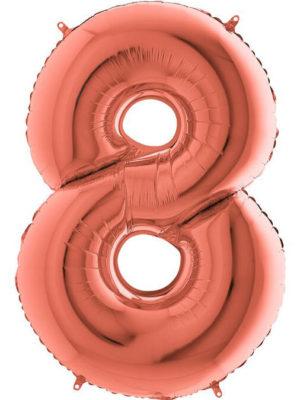 Фольгированная цифра 8 Восьмёрка розовое золото