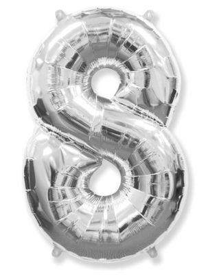 Фольгированная цифра 8 Восьмёрка серебряная