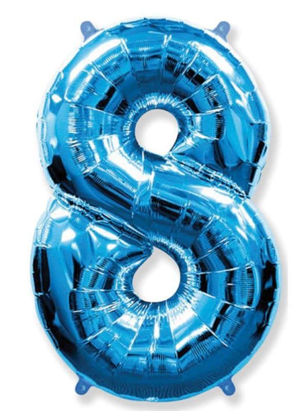 Фольгированная цифра 8 Восьмёрка синяя