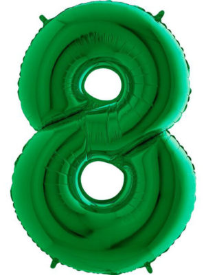 Фольгированная цифра 8 Восьмёрка зелёная