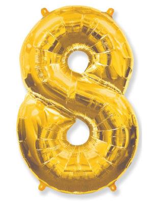 Фольгированная цифра 8 Восьмёрка золотая
