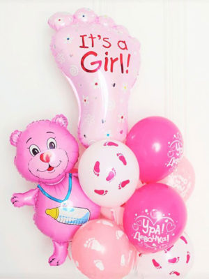 Фонтан из шаров на выписку для девочки «Мишка и стопа»