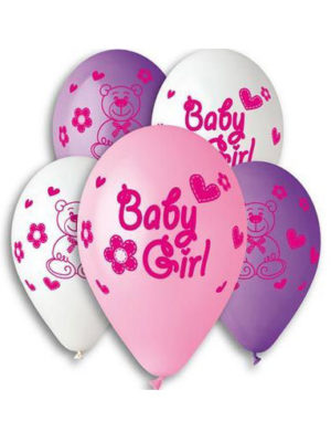 "Гелиевые шарики ""Baby Girl"" Размер: 12"" (30 см)"