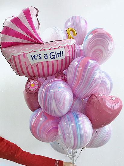 Гелиевые шары на выписку для девочки «Агат розовый»