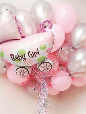 Гелиевые шары на выписку для девочки «Колясочка Серебро и розовый»