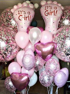 Композиция из шаров на выписку из роддома для девочки «Первые шаги»