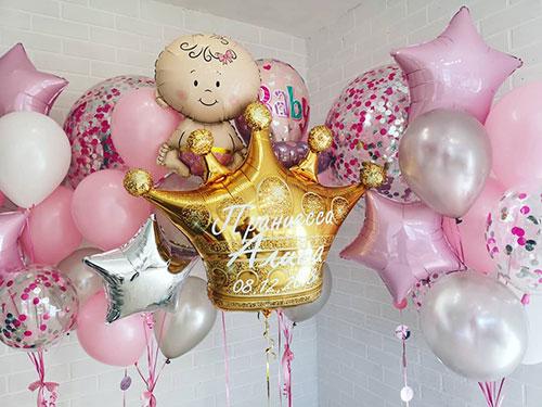Композиция из шаров на выписку из роддома для девочки «Принцесса с короной»