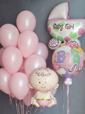Композиция из шаров на выписку из роддома для девочки «Розовый набор»