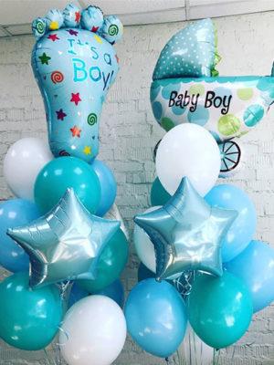 Композиция из шаров на выписку из роддома для Мальчика «Два фонтана»