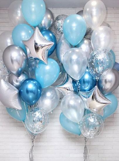 Композиция из шаров на выписку из роддома для Мальчика «Хром серебро-синий»