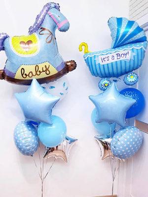 Композиция из шаров на выписку из роддома для Мальчика «Лошадка и Колясочка»