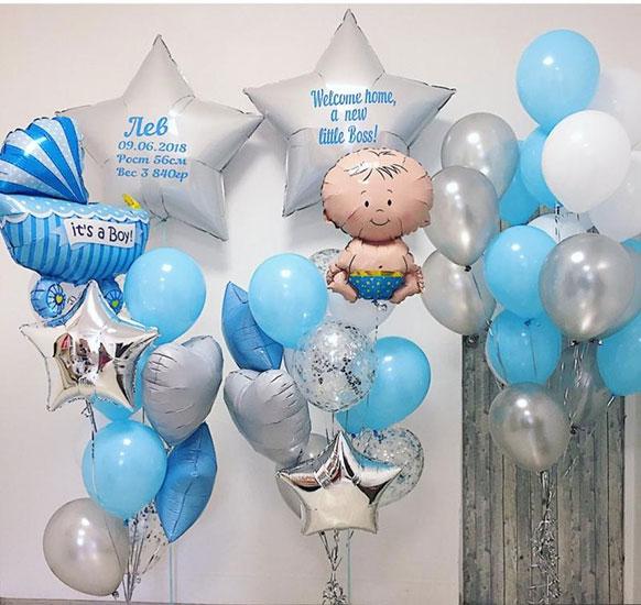 Композиция из шаров на выписку из роддома для Мальчика с метрикой «Welcome little Boss»