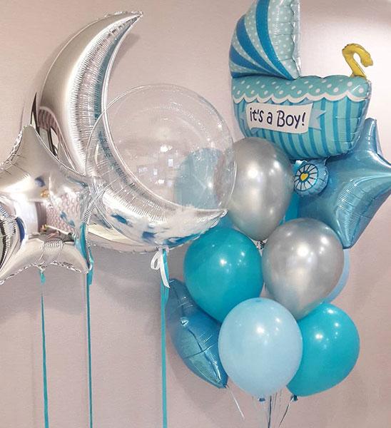 Композиция из шаров на выписку из роддома «Лунная» для Мальчика