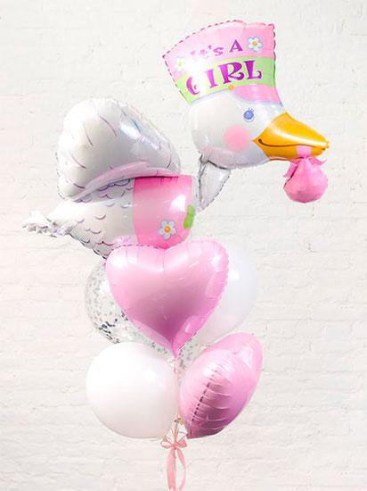 Набор шаров на выписку для девочки «Аист розовый»