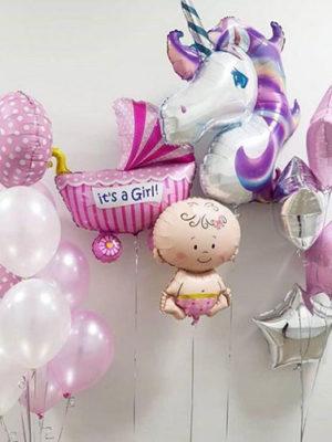 Набор шаров на выписку для девочки «Единорог фиолетовый»