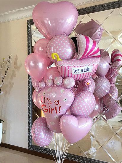 Набор шаров на выписку для девочки «Горошек»