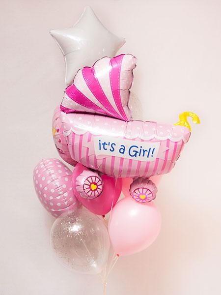 Набор шаров на выписку для девочки «Коляска с рисунком»