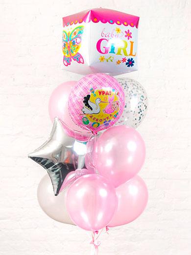Набор шаров на выписку для девочки «Куб Бабочка»