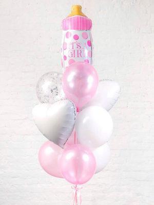 Набор шаров на выписку для девочки «С бутылочкой»