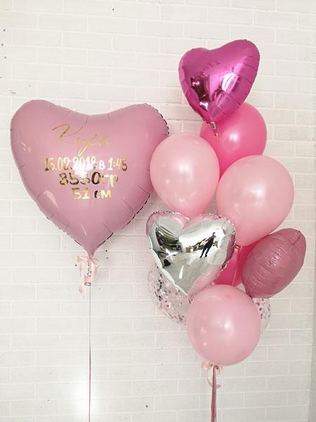 Набор шаров на выписку для девочки «Сердце с метрикой»