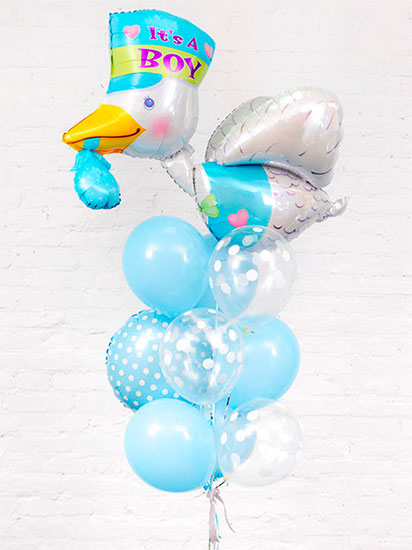 Набор шаров на выписку для мальчика «Аист голубой»