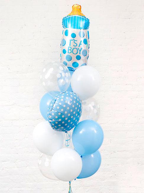 Набор шаров на выписку для мальчика «Бутылочка в горошек»