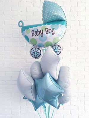 Набор шаров на выписку для мальчика «Коляска на бело-голубом»