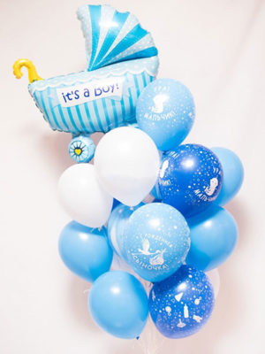 Набор шаров на выписку для мальчика «Коляска на связке»