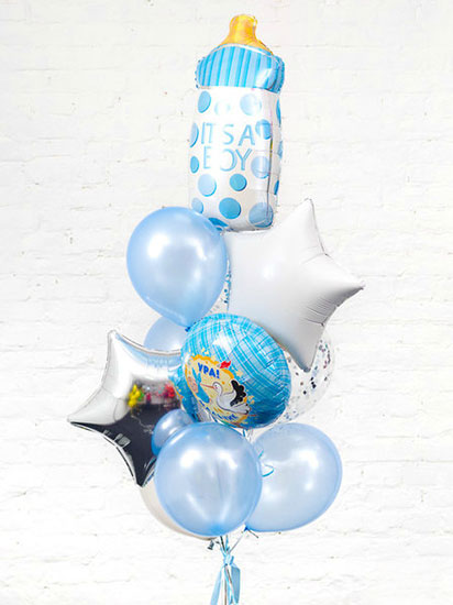 Набор шаров на выписку для мальчика «С бутылочкой»