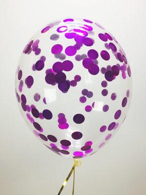 Шарики с конфетти Фиолетовые кружочки