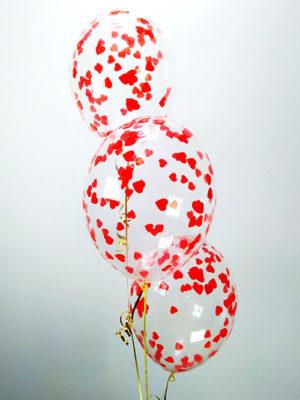 Шарики с конфетти Красные сердца