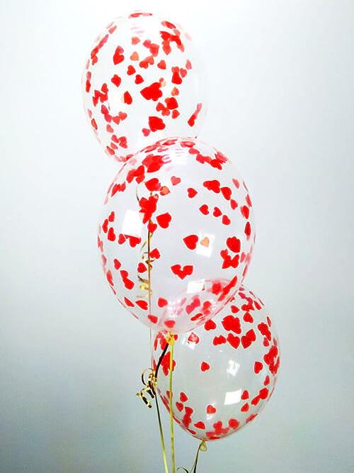 Кульки з конфетті Червоні серця