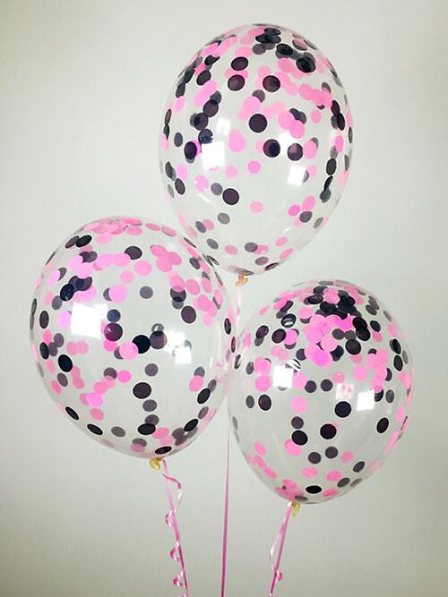 Кульки з конфетті Рожеві і чорні кола