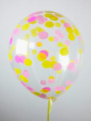 Шарики с конфетти Розовые и желтые кружочки