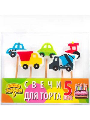 Свечи для торта на пиках Машинки