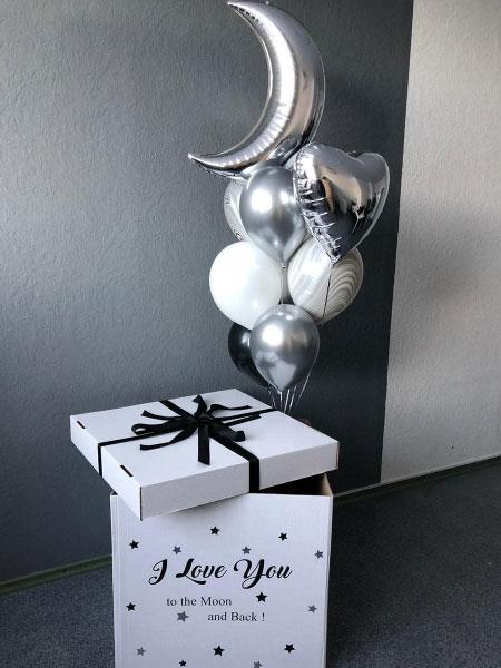 Коробка з гелієвими кульками «До місяця і назад»