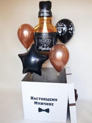 Коробка с гелиевыми шариками «Настоящему мужчине»