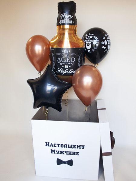 Коробка з гелієвими кульками «Справжньому чоловікові»